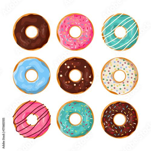 Canvas Print Set of cartoon donuts