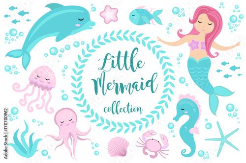 Canvas Print Cute set Little mermaid and underwater world