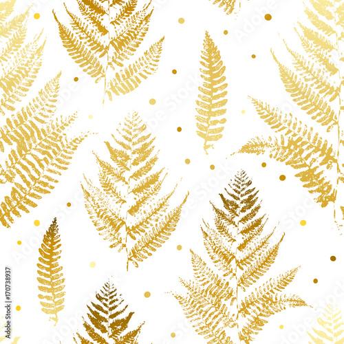 Fototapeta Bezszwowy wzór z złotymi paprociowymi liśćmi