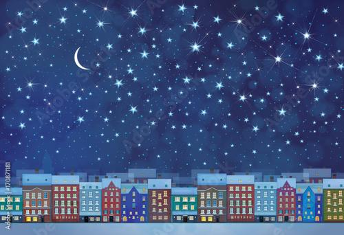 Miasto zimowe noc miasto tło.