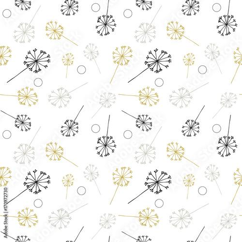 Dmuchawiec lub czosnek lub koper jak kwiaty i wzór nasion. Wektor kwiatowy bezszwowe powtórzyć proste wyciągnąć rękę stylizowane kwiaty.