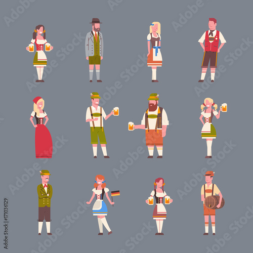 Fényképezés People Wearing German Traditional Clothes Set Of Icons Of Man And Woman Holding