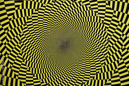 Optical illusion with circles that create the effect of rotation, as a background