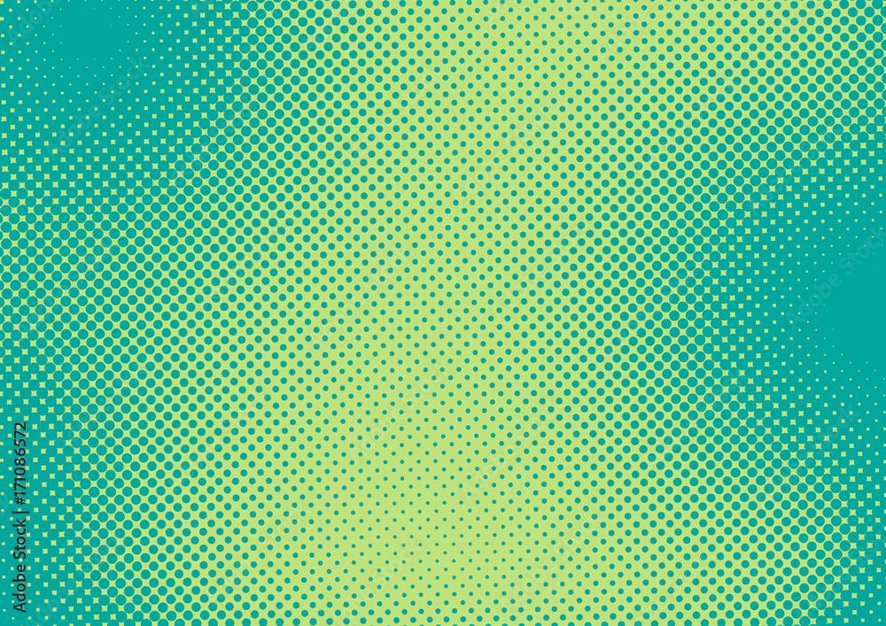 Jaskrawy - zielonego i turkusowego wystrzał sztuki retro tło z halftone w komiczka stylu, wektorowa ilustracja eps10 <span>plik: #171086572 | autor: stock_santa</span>