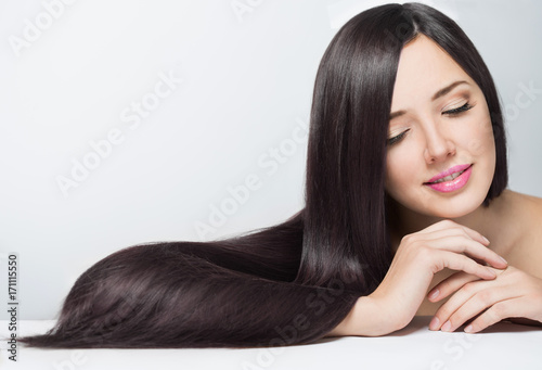 Canvas Print woman with long beautiful hair