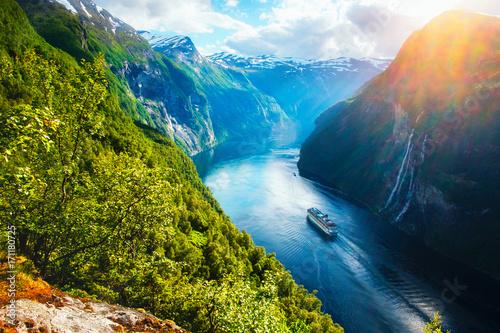 Fotografering Breathtaking view of Sunnylvsfjorden fjord