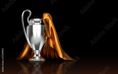 Fotomural Europe Cup. Silver trophy. Football championship 2017. 3d render