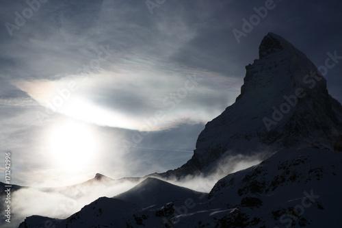 Matterhorn in Switzerland at sunset