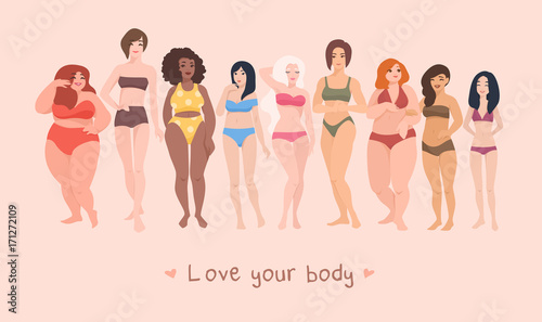 Fotografía Multiracial women of different height, figure type and size dressed in swimsuits standing in row