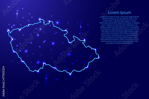 Photo Map Czech Republic from the contours network blue, luminous space stars of vecto