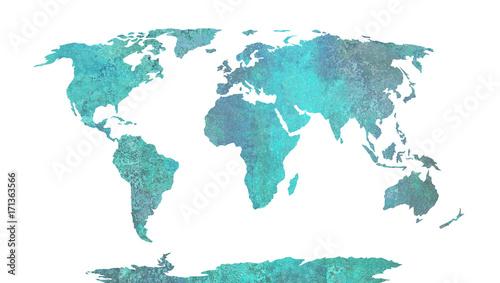 Plakat Mapa świata - niebieski wzór akwareli