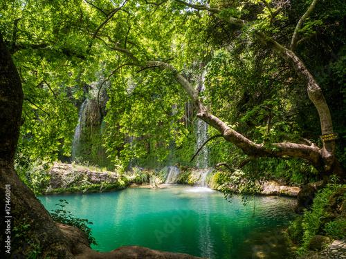 Scenic waterfall in the bea...