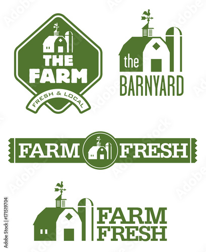 Photo Farm and Barn Logos Set of four farm and barn logo designs for farm fresh local food