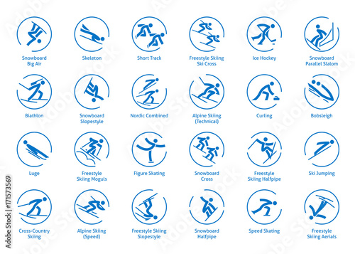 Leinwand Poster Wintersport-Symbole festgelegt