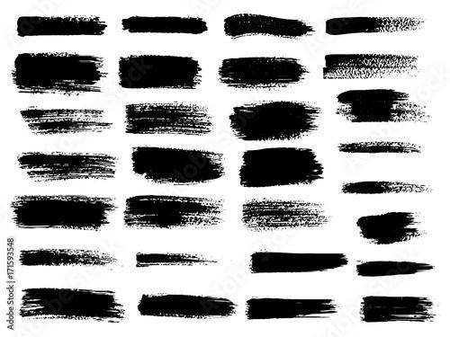 Fototapeta Vector black paint, ink brush stroke, brush, line or texture