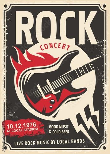 Rockowy retro plakatowy projekt z gitarą elektryczną i ogieniami płonie na starej papierowej teksturze.