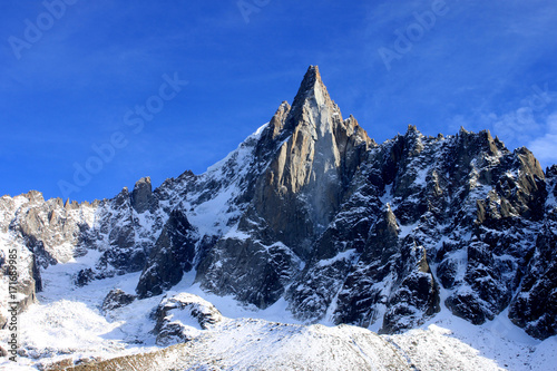 Aiguille du Dru in the Montblanc massif, French Alps