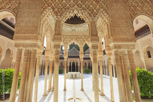 Yard of the Lions at the Alhambra in Granada, Spain