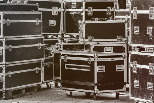 Stage equipment boxes for outdoor summer concert Fototapet