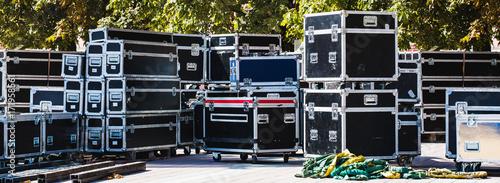Fotografia, Obraz Stage equipment boxes for outdoor summer concert