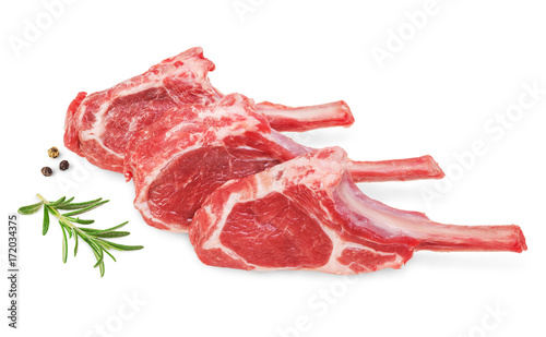 Obraz na plátně Fresh lamb cutlet  with  rosemary and pepper
