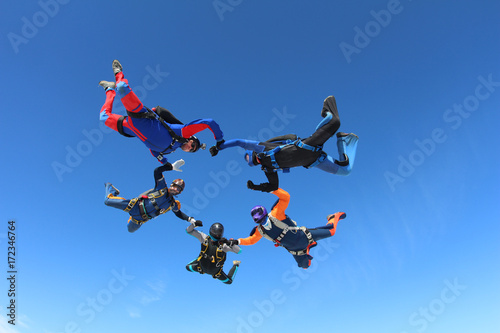 Skydivers in the blue sky.