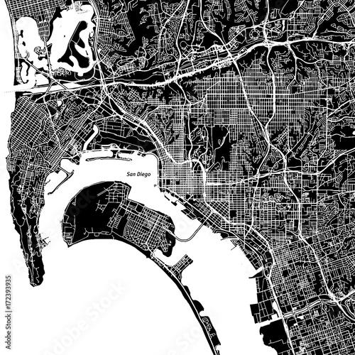 Fotografie, Obraz San Diego, California. Downtown vector map.