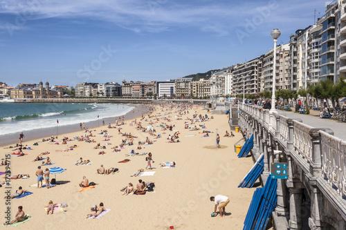 Tablou Canvas Beach in San Sebastian, Spain