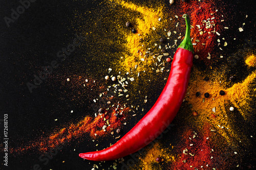 Fototapeta Red hot pepper. a mixture of spicy seasonings. View from above