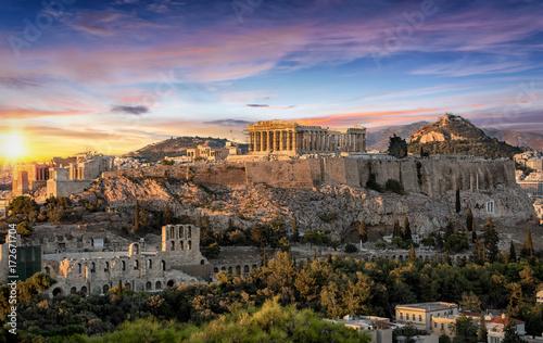 Canvas Print Die Akropolis von Athen, Griechenland, bei Sonnenuntergang