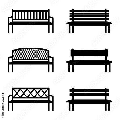 Billede på lærred Set of silhouettes of benches, vector illustration