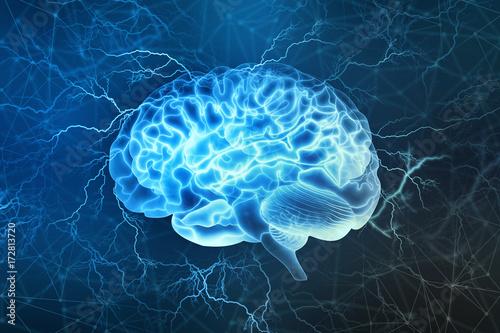 Digitale Illustration des menschlichen Gehirns Fototapete