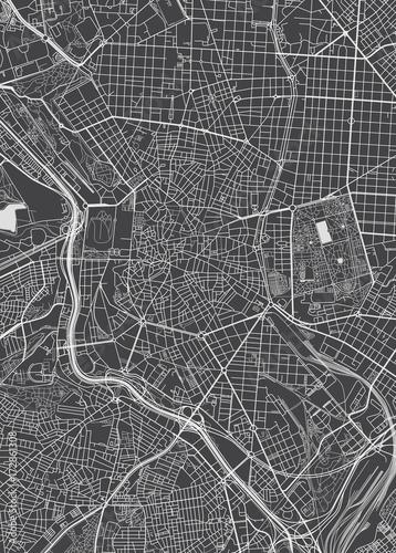Wallpaper Mural Madrid city plan, detailed vector map