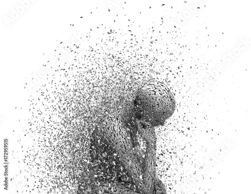 Slika na platnu Sadness and anxiety concept with despaired, stressed shattered 3D woman body