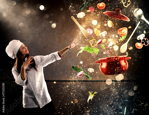 Photo Magic chef ready to cook a new dish