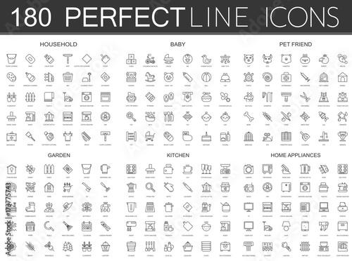 Fotografia 180 modern thin line icons set of household, baby, pet friend, garden, kitchen, home appliances