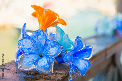 Canvas Print Traditional flower glass decorations in Murano island near Venice, Italy