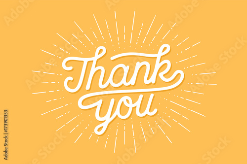 Strony napis dziękuję z rocznika sunburst grafiki na kolorowe tło. Modny baner, plakat, kartkę z życzeniami i pocztówka z kaligrafii na Święto Dziękczynienia. Ilustracja wektorowa