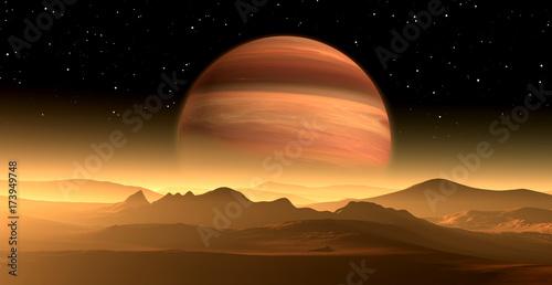 Obraz na plátně New Exoplanet or Extrasolar gas giant planet similar to Jupiter with moon