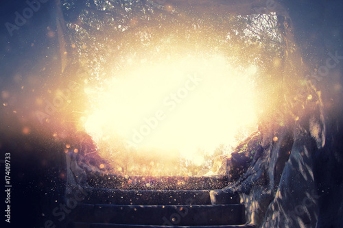 Fototapeta Abstract and surrealistic image of cave with light