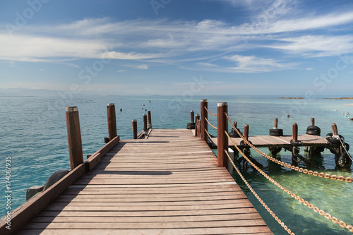 A wooden boardwalk in Kota Kinabalu in Malaysia