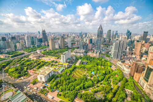 Shanghai People's square and park from top view