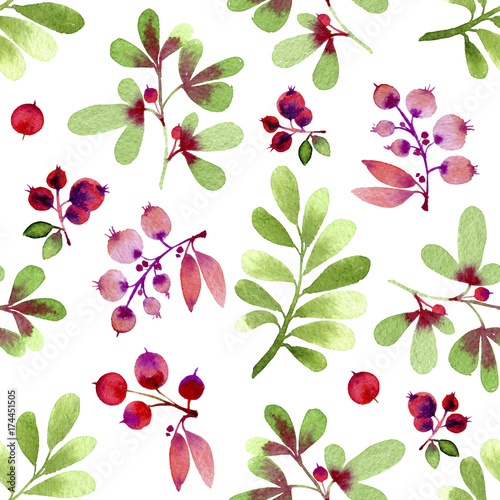 Watercolor green and pink leaves and berries seamless pattern.