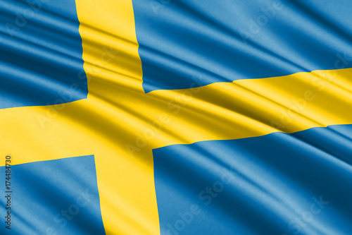 Wallpaper Mural waving flag sweden