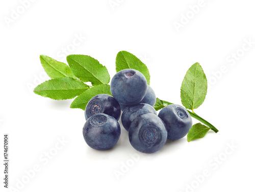 Blueberries with leaves Fototapeta
