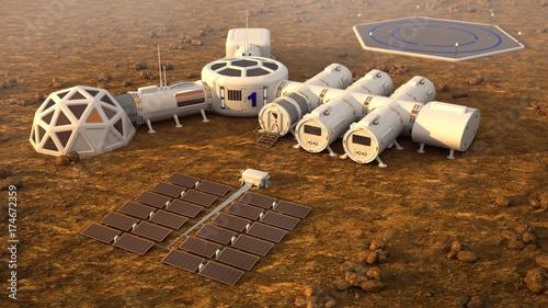 Photographie The colony on Mars. Autonomous life on Mars