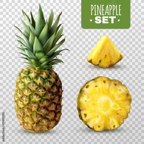 Wall mural Realistic Pineapple Set