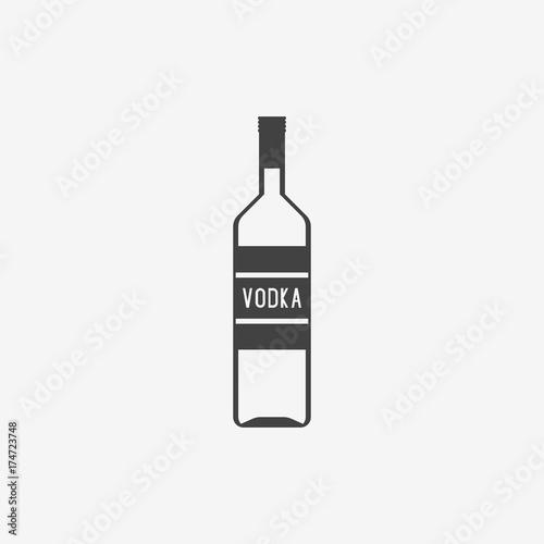 Classic bottle of vodka monochrome icon. Vector illustration. Fototapeta