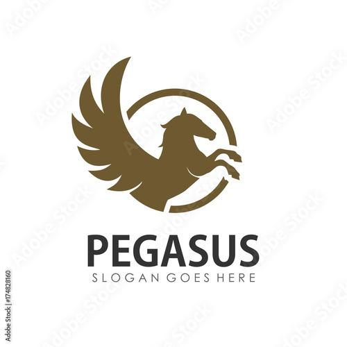 Fotografia Pegasus logo design template