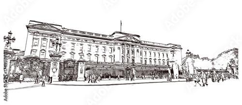 Obraz na plátně Sketch of Buckingham Palace London UK ( United kingdom, England ) in vector illu